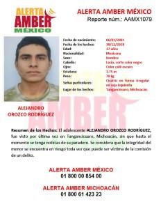 ALERTA AMBER ALEJANDRO OROZCO RODRÍGUEZ (MICH)
