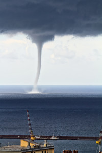 Huge waterspout over the port of Genova, Italy
